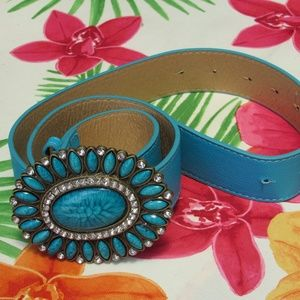 """Teal Belt with Turquoise & Crystal Accents 42"""""""